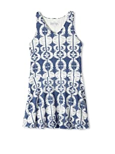 eggi kids Girl's V-Neck Tank Dress (Burnout Blue)