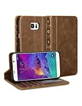 Galaxy Note 5 Case, GMYLE Book Case Vintage for Galaxy Note 5 V SM-N920 - Brown PU Leather Stand Case Cover