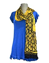 Sofias Exclusive Viscose Woven Medium Shawl,Size-70 cms x 200 cms,Color-Yellow