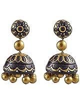 Avarna Terracotta Jhumki With Stud Earrings Sjc0004 For Women (Black )