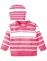 Infant Girls Sweater with Cap, Pink (0-6 Months)