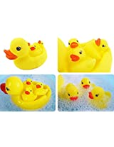 Kangkang@ Creative Lovely Duck Family Wonderful Rubber Baby Squirt Bathtub Toys Baby Play with Water Bathing Swimming Cute Little Yellow Duck Pinching Ring Spray Water