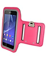 iGadgitz Reflective Anti-Slip Pink Sports Jogging Gym Armband for Sony Xperia Z2 D6503 D6502 D6543 & Sony Xperia Z3 D6603 with Key Slot