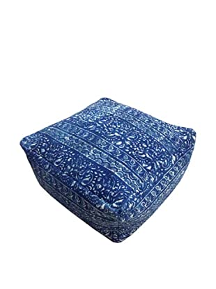 Modelli Creations Natural Fiber Square Dhurrie Pouf, Blue