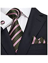 Landisun 18A56 Coffee Pink Striped Mens Silk Tie Set: Tie+Hanky+Cufflinks