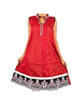 Mruga Women's Resham Work Traditional Kurti-40-Red