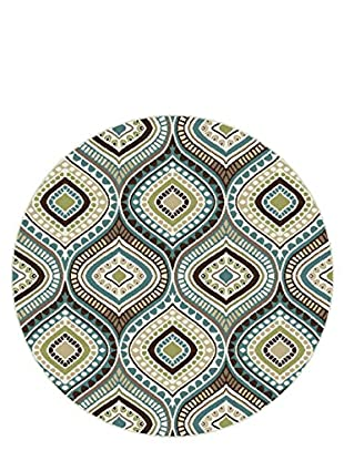 Universal Rugs Capri Contemporary Area Rug, Blue, 6' Round