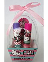 Hello Kitty Easter Egg Gift Set Lip Balm 2 Pack With Keychain Mirror Bubble Gum Strawberry