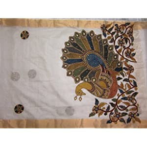 Kota silk with pen kalamkari hand work saree (Maggam work) - Online Shopping for Designer Sarees by Jayanth Kalamkari Designs