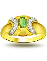 Diamond and Green Oval Emerald 18kt Two Tone Ring