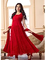 Designer red hot long anarkali suit