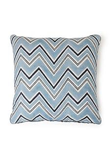 "AKMD 20""x 20"" Hand Block-Printed Ikat Throw Pillow (Leharia Light Blue)"