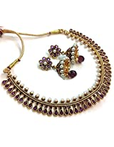 Divinique Jewelry Gorgeous Purple Copper Polki necklace set for Women