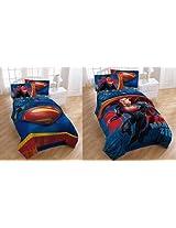 "Superman Movie ""Man of Steel"" Twin / Full Comforter ~ Reversible"