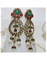 Antique Polki Work Earrings Carved with Stone And Beads