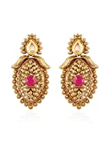 I Jewels Traditional Gold Plated Temple Earrings for Women E2246Q (Rani/Pink)