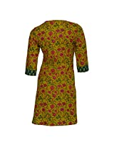 Rajasthan Emporium and Handicrafts Women Cotton Green Kurti