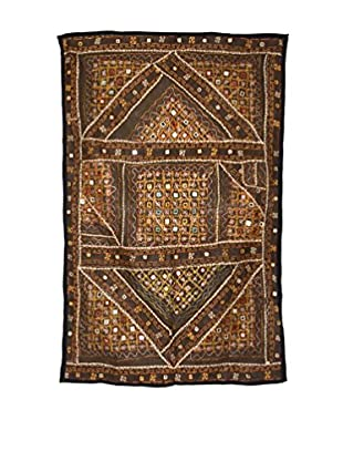 Uptown Down One-of-a-Kind Patchwork Wall Hanging/Textile Panel, Brown