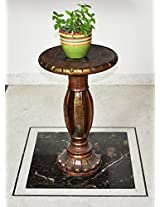 Lalhaveli Handmade Work Design Carved Wood End Table & Decorative Wooden Stool 24 X 15 X 15 Inches