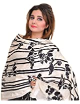 Exotic India Pristine-White Stole with Printed Black Motifs and Self-Wea - White