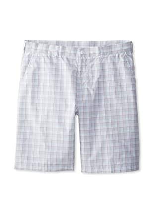 PGA TOUR Men's Flat Front Plaid Short 4 Color (Cockatoo)