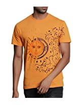 T - Shirt - Mens Tshirt - Hand Painted Sun and Moon Theme - Orange Color