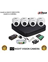 DAHUA HDCVI 4CH DH-HCVR4104C-S2 DVR + DAHUA HDCVI DH-HAC-HDW1000RP DOME CAMERA 4Pcs + 1 TB WD HDD+ 3+1 COPPER CABLE + POWER SUPPLY (FULL COMBO)