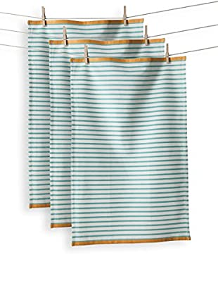 KAF Home Set of 3 Hampton Stripe Towel, Turquoise