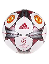 Adidas Manchester United Capitano UEFA Champions League Football, Size 5 (White/Red/Black/Silver)