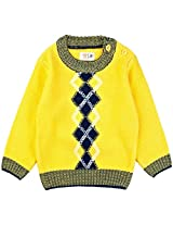 Infant Boys Sweater With Jacquard Pattern, Yellow (0-6 Months)