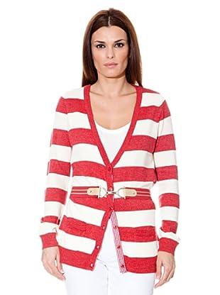 Cortefiel Cardigan Gestreift (Rot/Weiß)