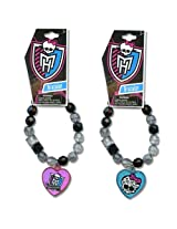 WeGlow International Monster High Assorted Faceted Beaded Bracelet with Plastic Charm (Set of 3)