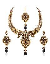 Variation Black Stone Australian Diamond Polki Necklace Set [Jewellery]