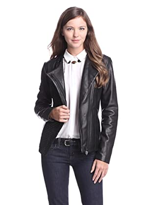 Elie Tahari Women's Leah Basketweave Leather Jacket (Black)