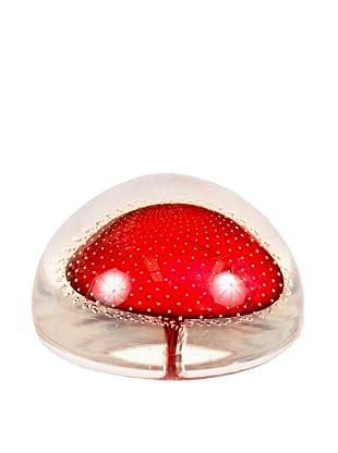 Handblown Art Glass Paperweight, Clear/Red