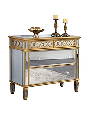 Audrey 2-Drawer Mirrored Cabinet, Gold Leaf