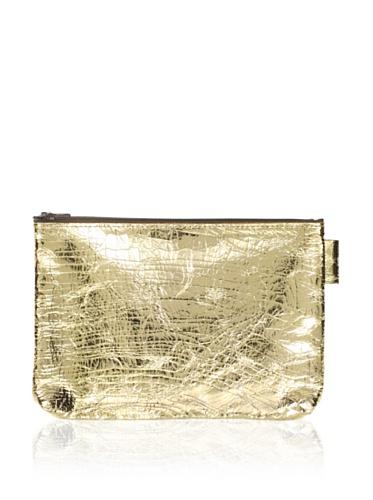 Sweet Bella Metallic Leather Flat Zipper Case, Crackle Gold
