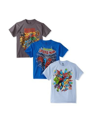 Freeze Boy's 8-20 Marvel/Spider-Man T-Shirt Bundle (Charcoal/Royal/Light Blue)