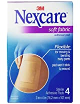 Nexcare SFP34 Soft Fabric Adhesive Gauze Pad, 3X4 Inches, 1.406 Pounds