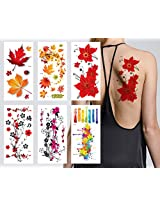 Supperb® Flower & Autumn Leaves Temporary Tattoos / Gorgeous Color Set of 6