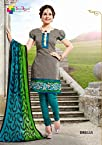 Casual Gray and Light Green Embroidered Cotton Dress Material