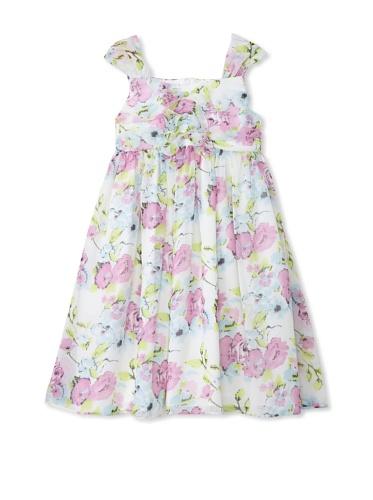 Pippa & Julie Girl's Sleeveless Floral Dress (White)