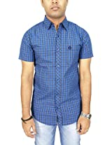 AA' Southbay Men's Blue & Navy Checks 100% Premium Cotton Half Sleeve Business Casual Shirt