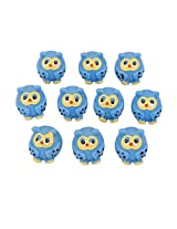 Generic 10pcs Miniature Dollhouse Bonsai Garden Landscape Little Owls Decor Blue