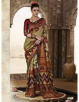 Bhagalpuri Silk Printed Golden Designer Saree - 19033