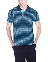 Zobello Men's Jacquard Knit Polo (21019A_Navy Turq Blue_XX-Large)