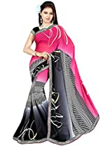 Shree Bahuchar Creation Women's Chiffon Saree(Skb36, Pink and Black)
