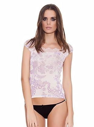 ROBERTO CAVALLI INTIMO Camiseta Estampado Logo (Blanco / Violeta)