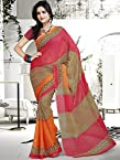 Kalazone red brown and orange georgette Saree