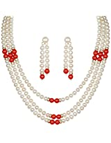 Classique Designer Silver Alloy With Gold Plated Round Pearl Necklace Set For Women(CP205)